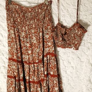 Free people skirt and top set size large.